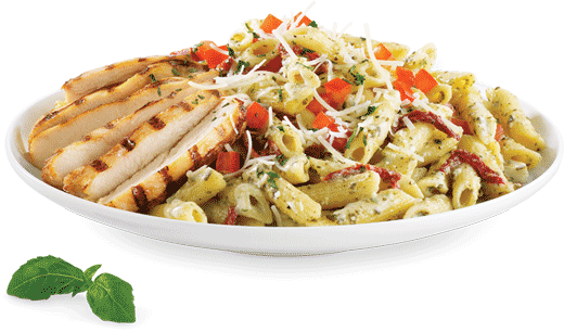 Penne, Creamy alfredo pesto sauce, Sun-dried tomatoes, Grilled chicken ...